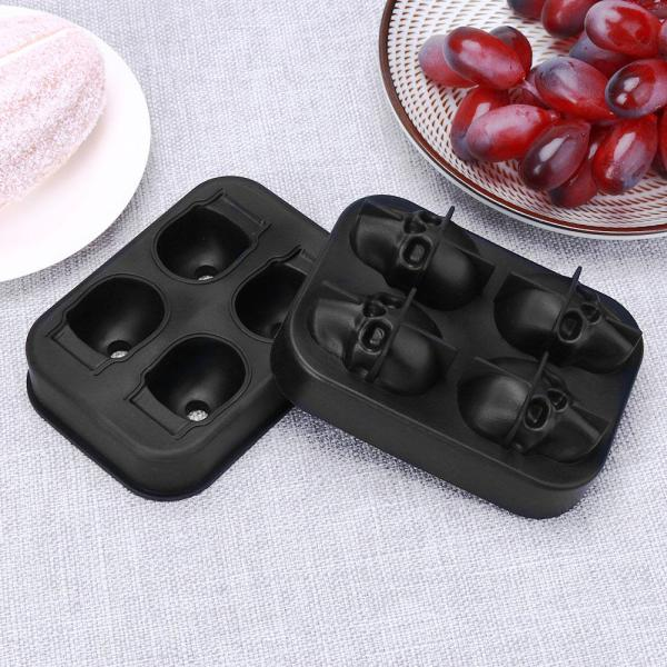 4 Holes Silicone Bones Skull Ice Cube Mold Cake Candy Tray Halloween Gift Kitchen Cooking Ice