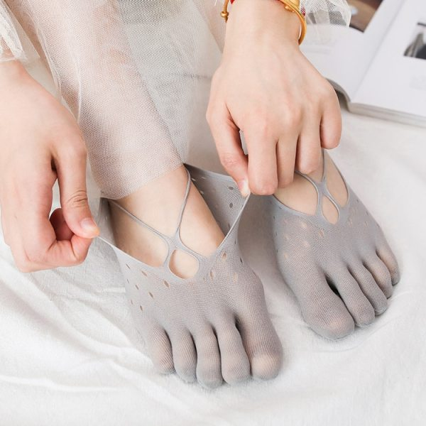 Five Finger Socks Women s Summer Ultra Thin Hollow Mesh Cross Strap Shallow Mouth Invisible Sling