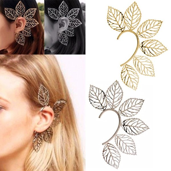 Gifts Unique Party High Quality Hot Sale Golden Leaf 1PC Fashion Jewelry Women Ear Clips Alloy