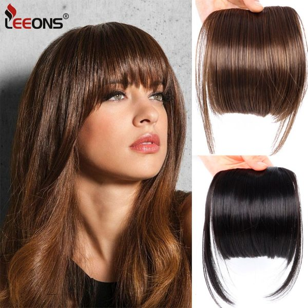 Leeons Natural Straight Synthetic Blunt Bangs High Temperature Fiber Brown Women Clip In Full Bangs With