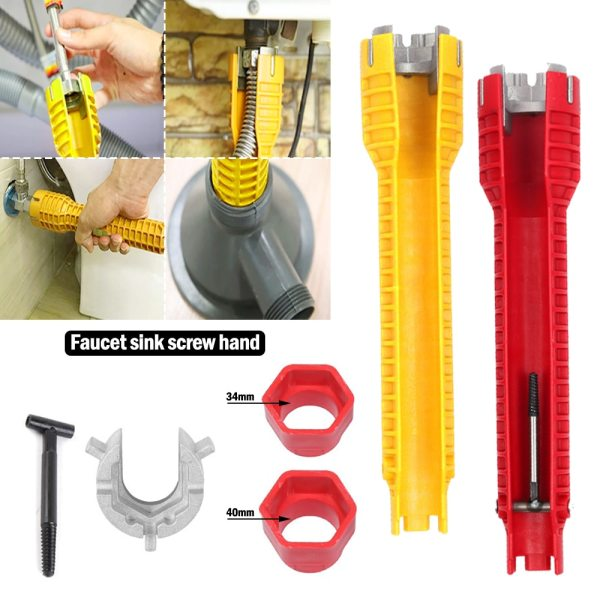 NEW 8 In 1 Flume Wrench Anti slip Kitchen Sink Repair Wrench Bathroom Faucet Assembly Plumbing