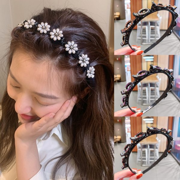 Ruoshui Woman Crystal Double Band Hairband with Clips Hairstyle Headband Women Pearl Hair Accessorires Bezel Ladies
