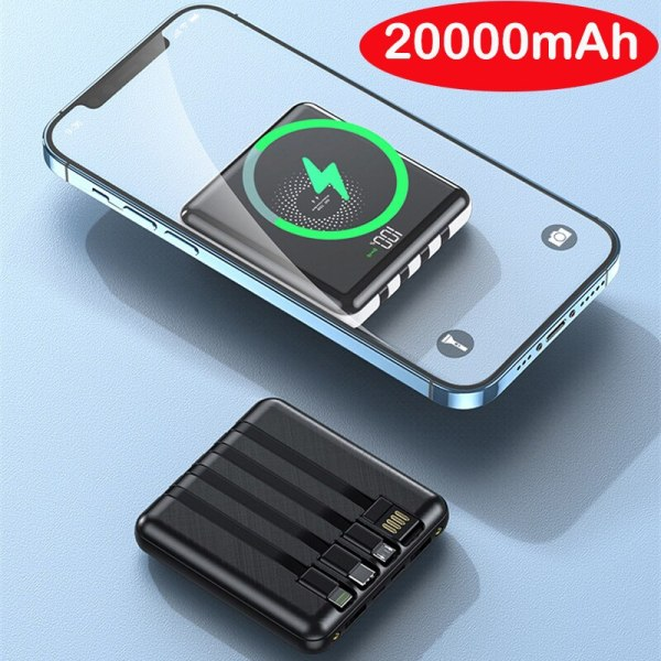 20000mAh 15W Portable Qi Wireless Charger Power Bank Built in Cable Powerbank for iPhone 12 11