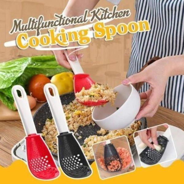 Kitchen Multifunctional Grinding Cooking Spoon Mashing And Draining Colander Grinding Ginger Garlic Spoon Fruit Vegetable Tools