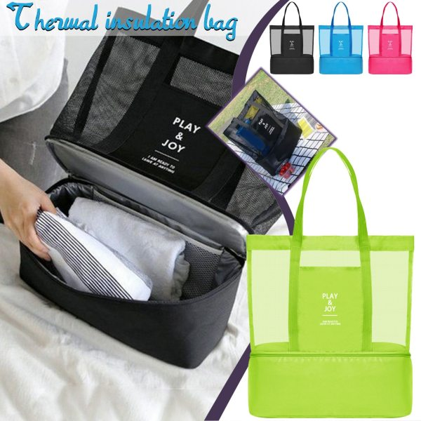 2 In 1 Women Large Mesh Beach Bag Transparent Double layer Insulation Picnic Oxford Cloth Bag