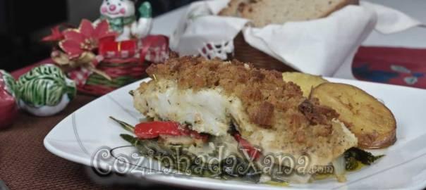 Bacalhau no forno com broa