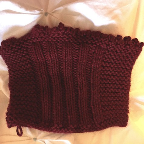 Photo of a swatch knit in the round.