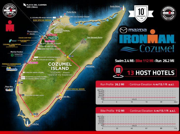 Cozumel Ironman 2018 map