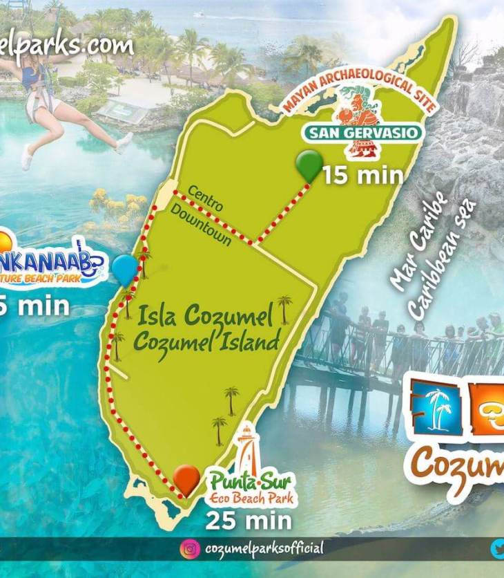 Cozumel Parks map