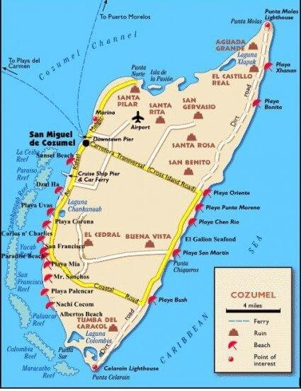 Cozumel island map