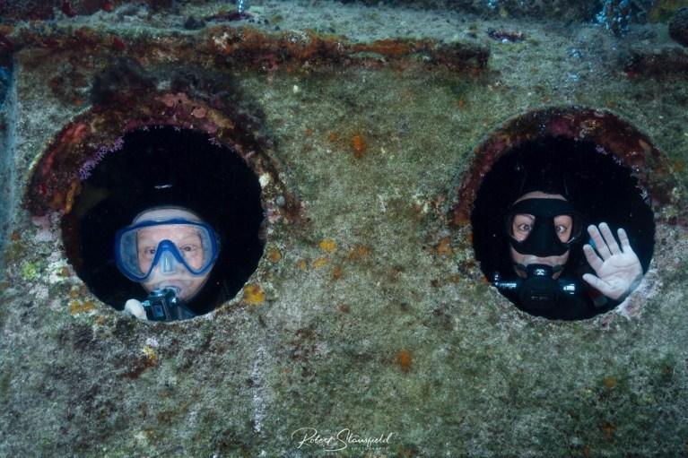 Inside a shipwreck.