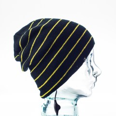 CozyB - Black and Thin Yellow Stripes Beanie Headphone Side View
