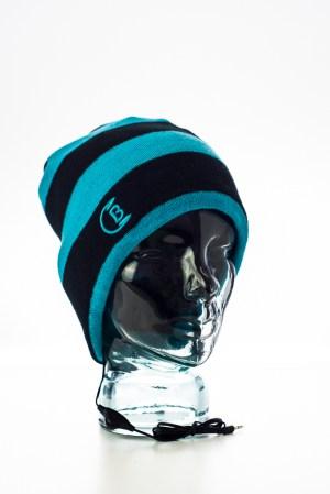 CozyB - Black and Aqua Striped Beanie Headphone Front View