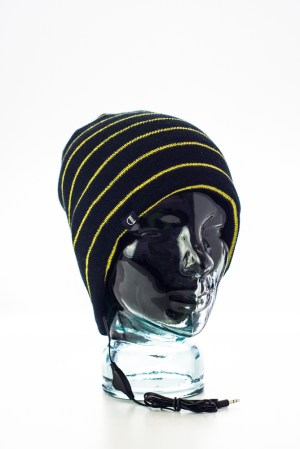 CozyB - Black and Thin Yellow Stripes Beanie Headphone Front View c9310395b03