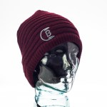 CozyB - Maroon Knit Beanie Headphone Front View