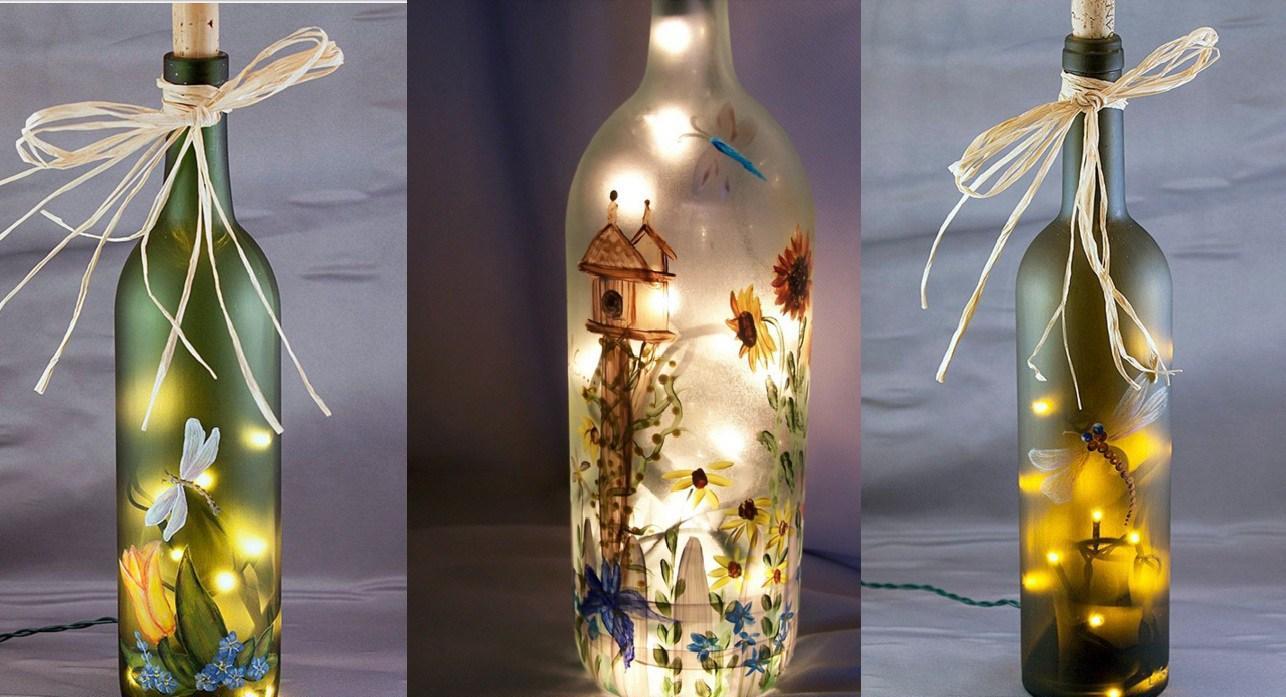 Botol hiasan yang luar biasa dengan lukisan dan garland