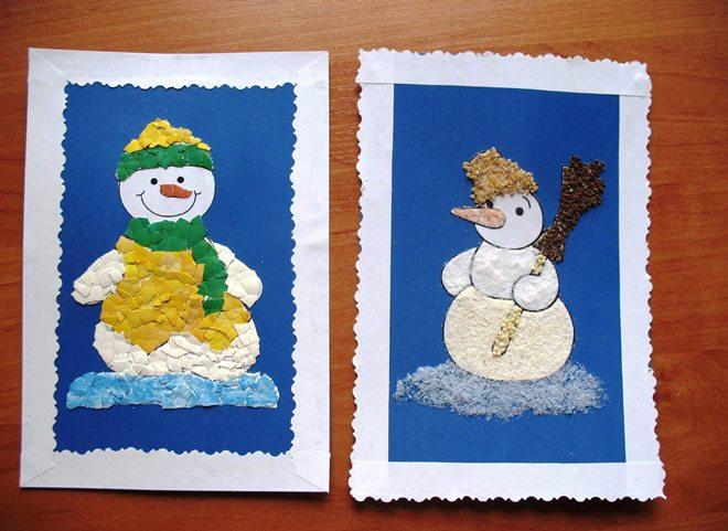Người tuyết giấy trên một tấm bưu thiếp