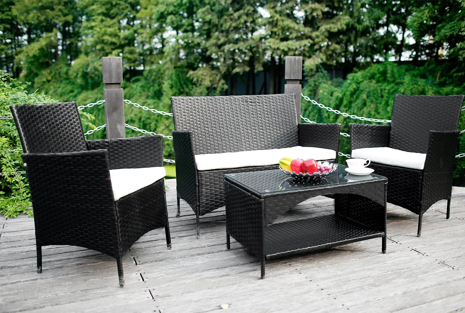 Cool Review Merax 4 Piece Outdoor Rattan Patio Furniture Set Home Interior And Landscaping Ferensignezvosmurscom