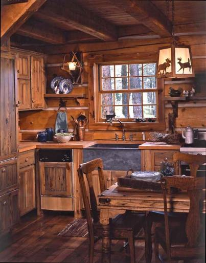 Cozy log cabin kitchen
