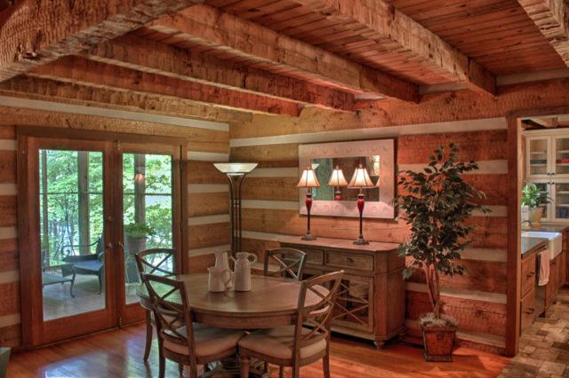 Rustic log cabin inside