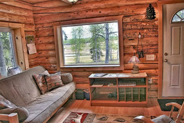 Alaska log cabin interior