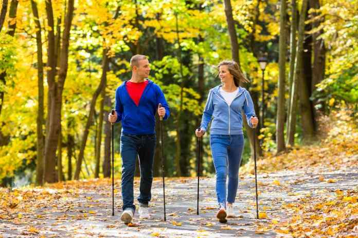 скандинавская ходьба или ходьба с палками