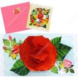 Tarjeta desplegable imprimible y armable de una rosa. Manualidades a Raudales.