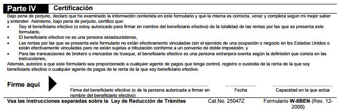 Certificacion en la W-8BEN
