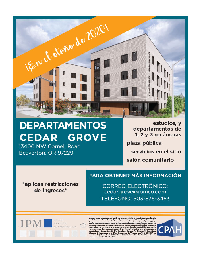 Cedar Grove Now Leasing in Spanish