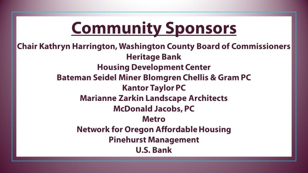 Community Sponsors 2021