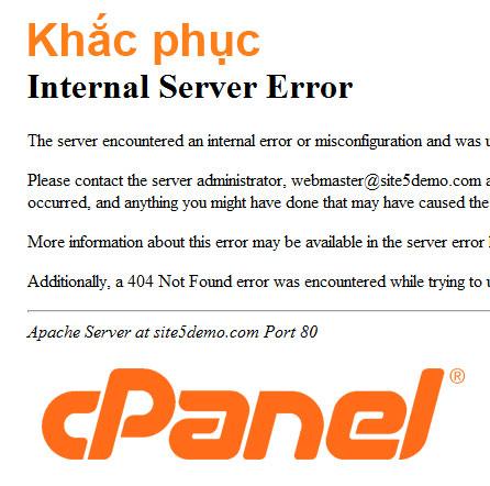 Lỗi 500 (internal server error) trên cPanel hosting