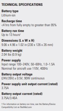 ResMed Power Station II Specs
