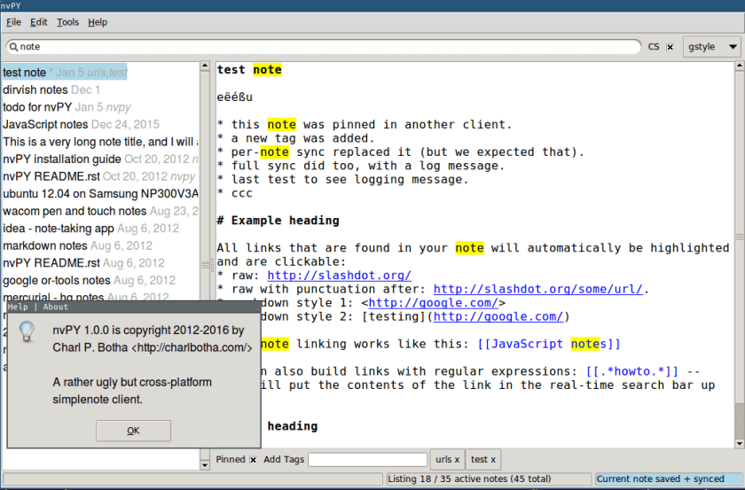 Screenshot of nvpy 1.0.0 with a demo database of notes.
