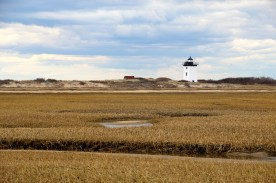 Wood End Lighthouse across tidal flats, Provincetown, Cape Cod, MA.