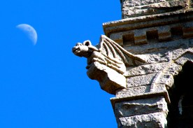 Gargoyle and moon, Pilgrim Monument, Provincetown, Cape Cod, MA.