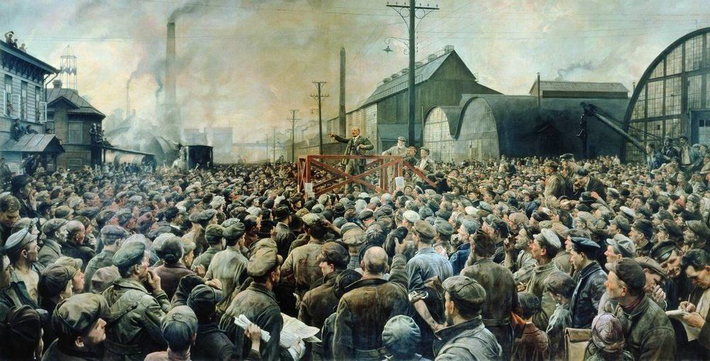 Lenin addresses workers at the Putilov Factory, May 1917. (I. Brodsky, 1929)