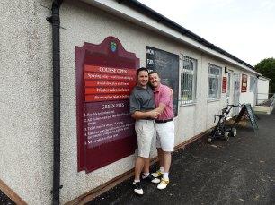 A congratulatory hug for finishing the golf match.