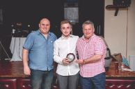 Supporters Player of the Year Dan Kinsey, is presented with his award by Leigh Sprague of 1896BULLDOGS.