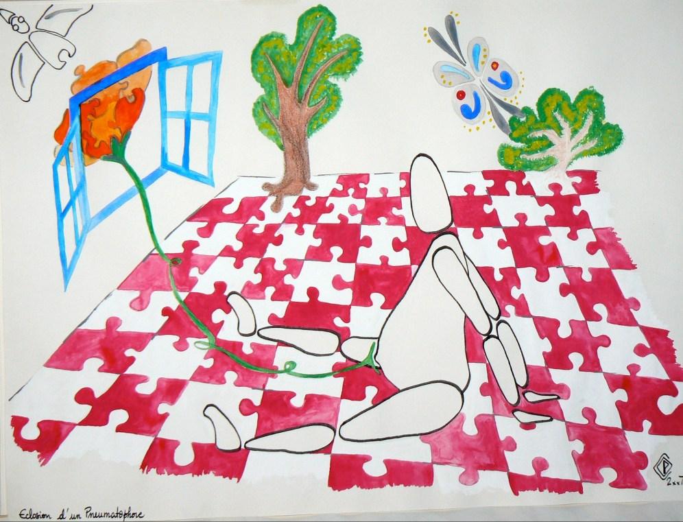 A3, feutre et gouache, Éclosion d'un pneumatophore • Illustration Claire PéhO