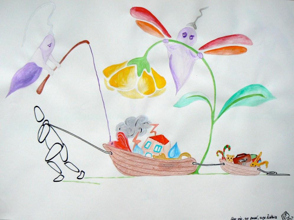 A3, feutre et aquarelle, Une vie un passé une histoire • Illustration Claire PéhO