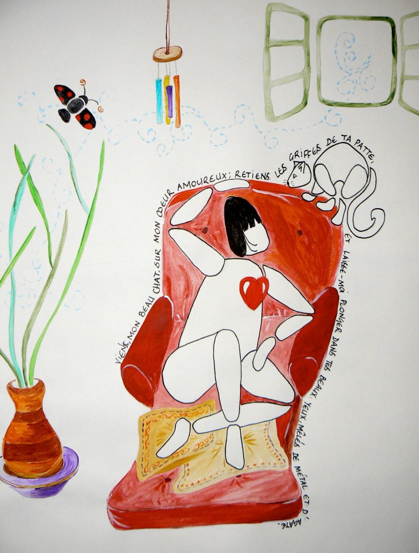 A3, feutre et aquarelle, Viens mon beau chat • Illustration Claire PéhO