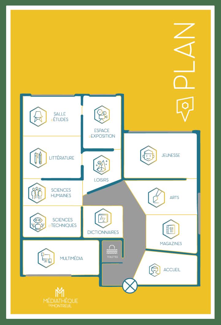 Plan signalétique pour Médiathèque de Montreuil par Claire PéhO