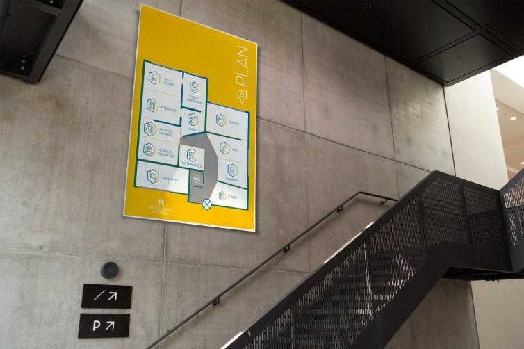 Panneau signalétique pour Médiathèque de Montreuil par Claire PéhO