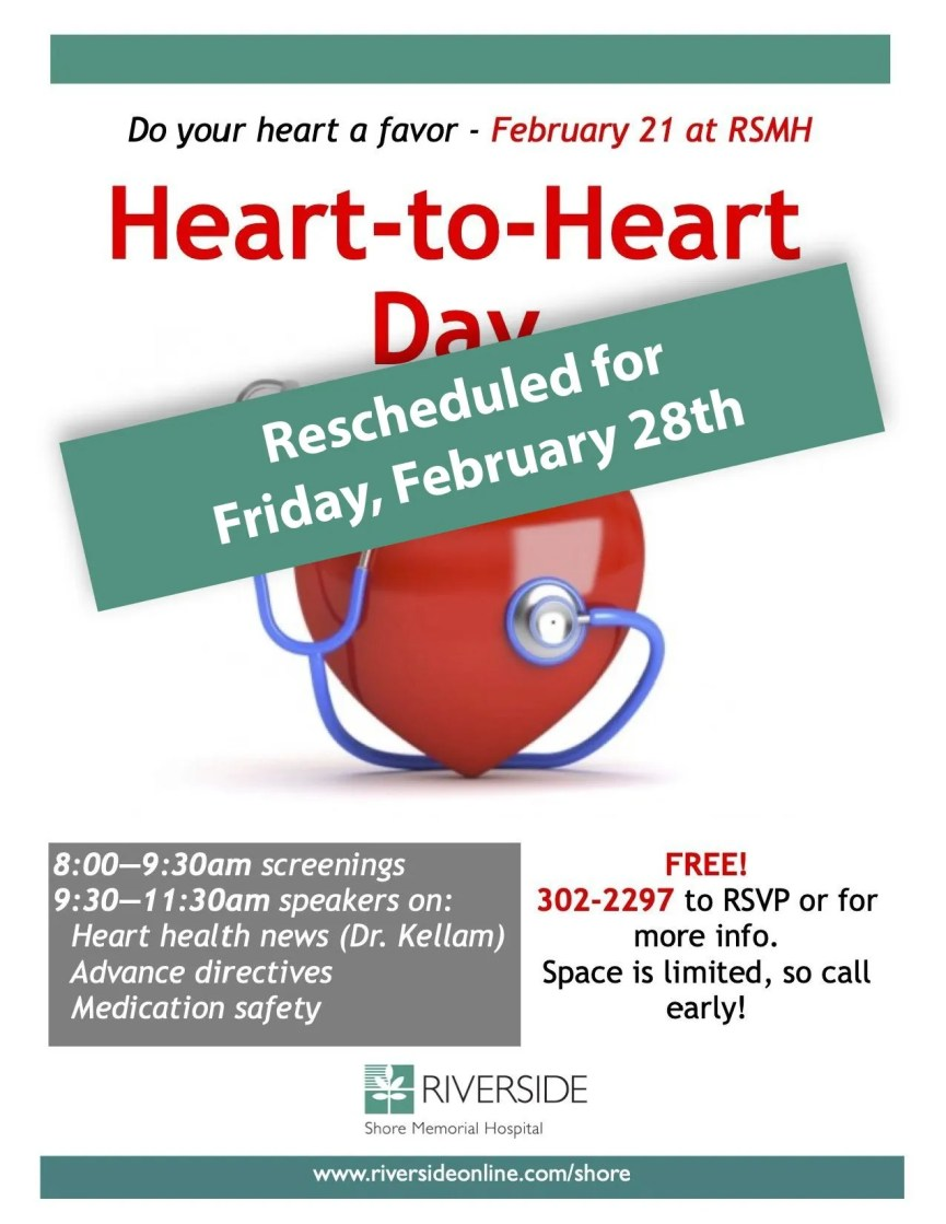 Heart-to-Heart Day rescheduled for Friday, February 28th due to inclement weather.