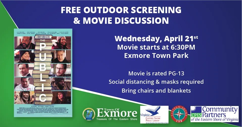Free Movie Screening April 21, 2021 at 6:30PM at Exmore Town Park.