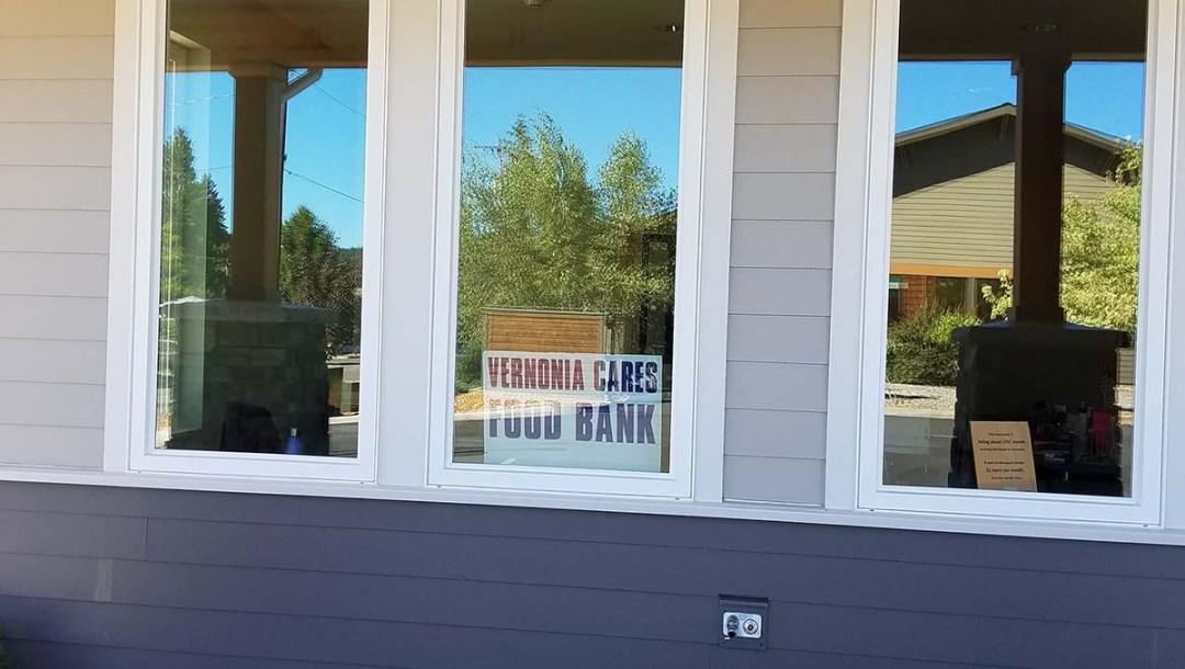 windows sign Vernonia oregon food bank