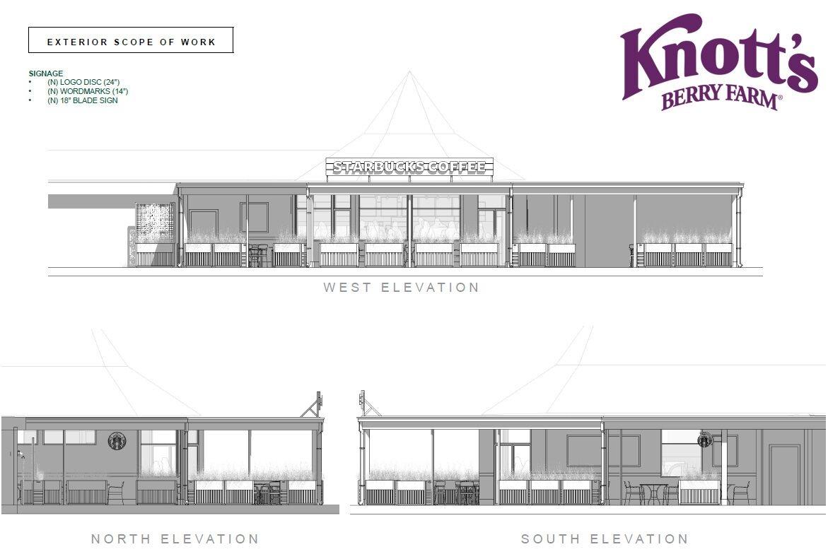 Knott's Berry Farm Starbucks Concept Art Elevations