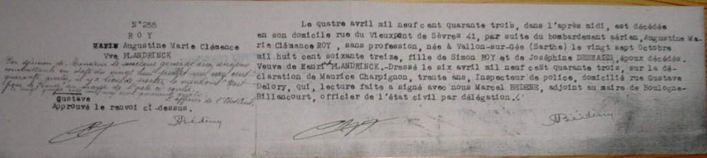Dècès ROY Augustine Marie Clémence Mort pour la France en 1943 sous les bombardements