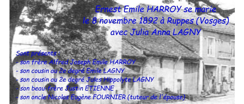 HARROY Ernest Emile Mariage