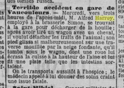 Vaucouleurs Accident HARROY Joseph 1904-03-05